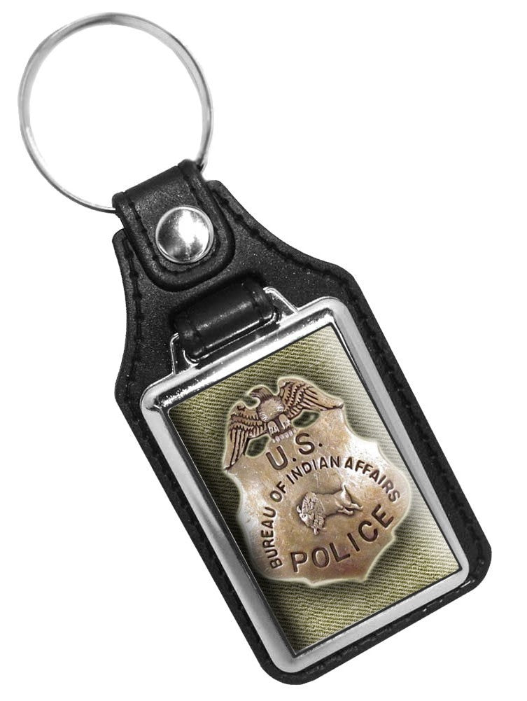 Vintage Bureau of Indian Affairs Police Badge Design Faux Leather Key Ring
