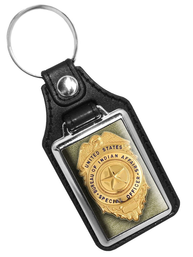 United States Bureau of Indian Affairs Special Officer Badge Design Faux Leather Key Ring
