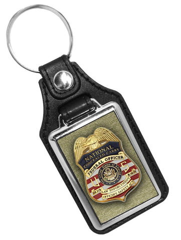 Federal Officer National Concealed Carry Officer's Safety Act Design Faux Leather Key Ring