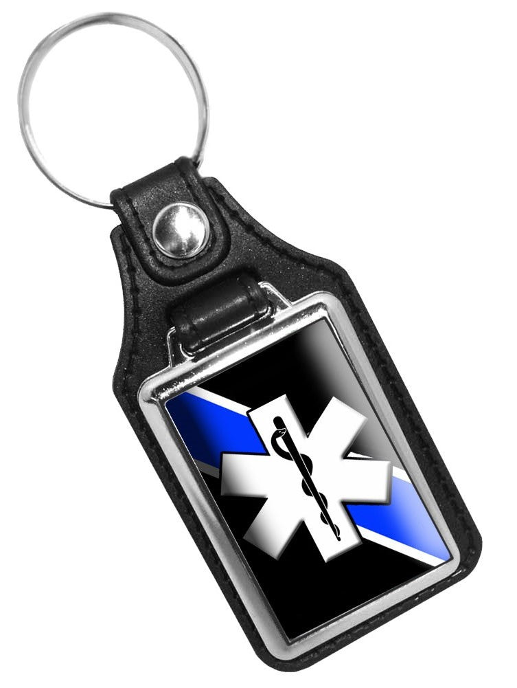EMS Key Chain Thin Blue Line EMS Star of Life