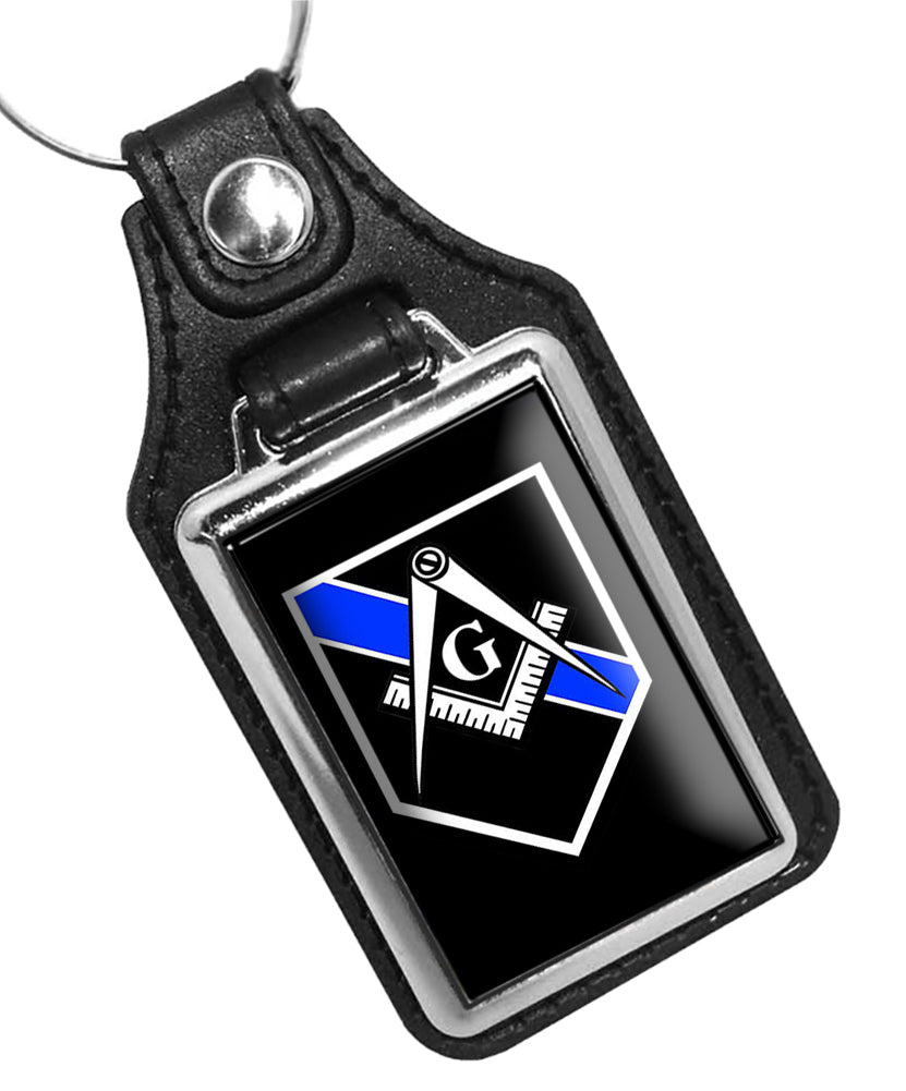 Police Key Chain Thin Blue Line Mason Compass and Square