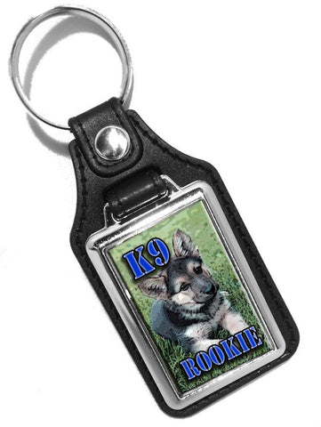 K9 Canine Puppy K9 Rookie Police Sheriff Faux Leather Key Ring