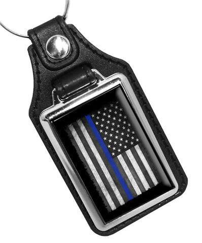 Police Sheriff Thin Blue Line American Flag Law Enforcement Faux Leather Key Ring