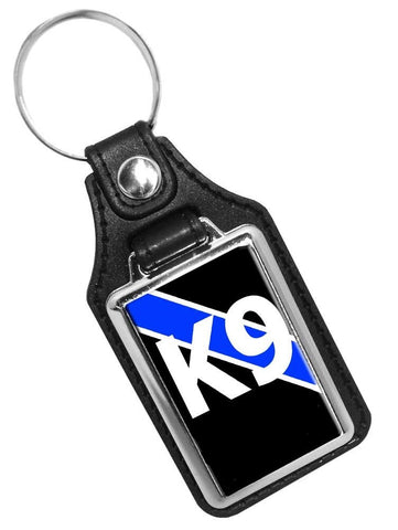 Thin Blue Line Police Sheriff Canine K9 Unit Faux Leather Key Ring