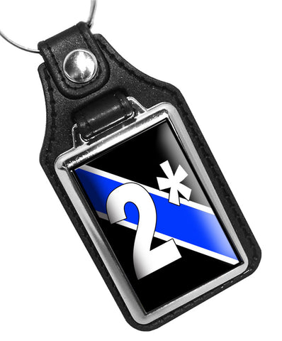Canine K9 Dog Unit Two Ass To Risk 2* Thin Blue Line Police Faux Leather Key Ring