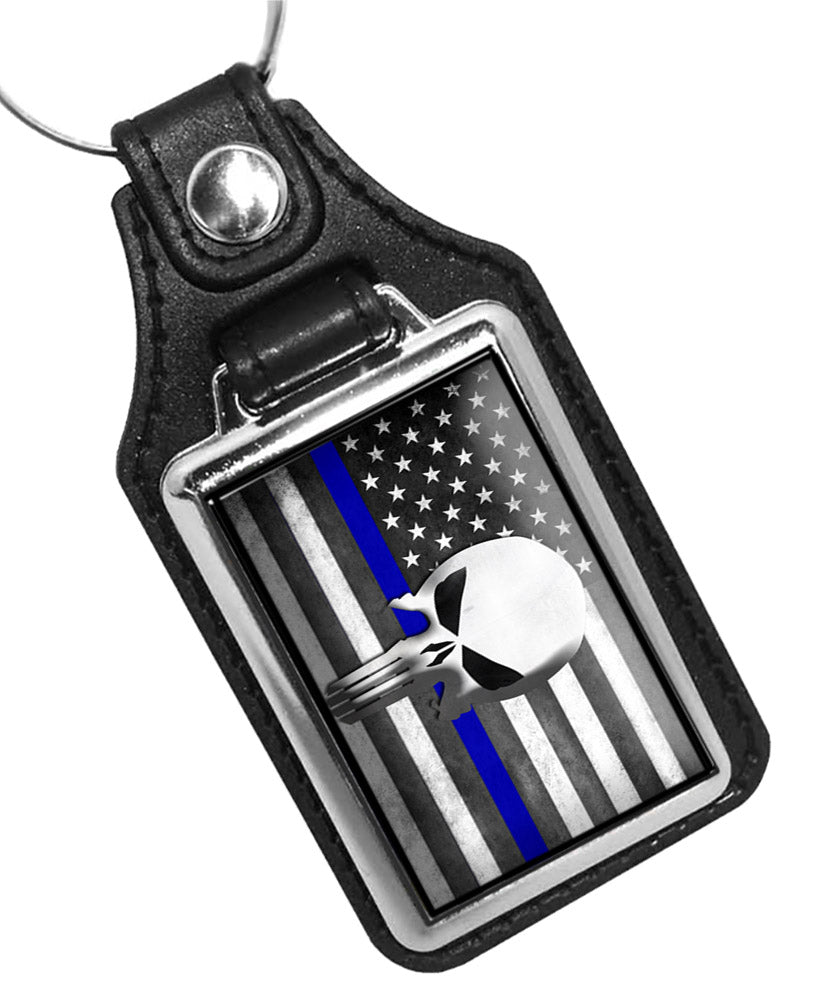 Police Key Chain Thin Blue Line American Flag Punisher Skull