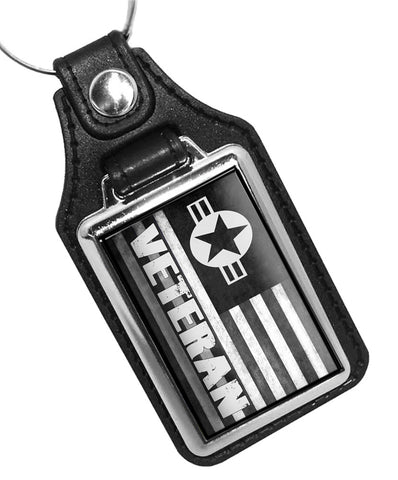 United States Air Force Veteran Subdued Flag Faux Leather Key Ring