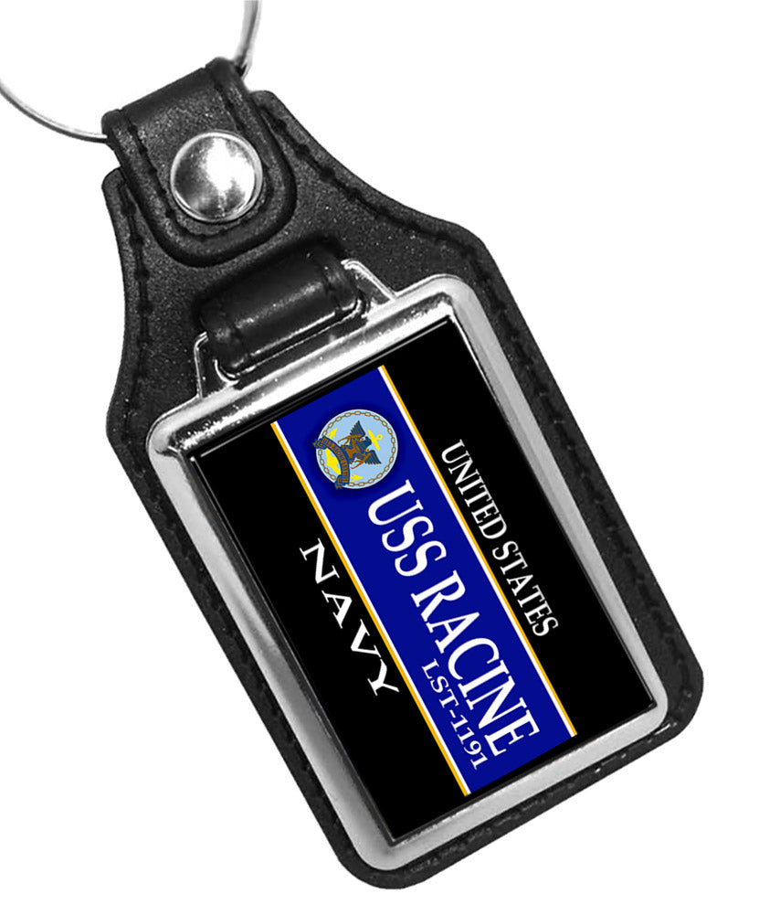 United States Navy Ship USS Racine LST-1191 Faux Leather Key Ring