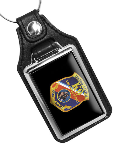 United States Coast Guard Law Enforcement K9 Emblem Faux Leather Key Ring