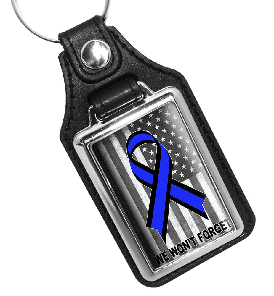 Subdued American Flag Thin Blue Line Ribbon We Won't Forget Faux Leather Key Ring