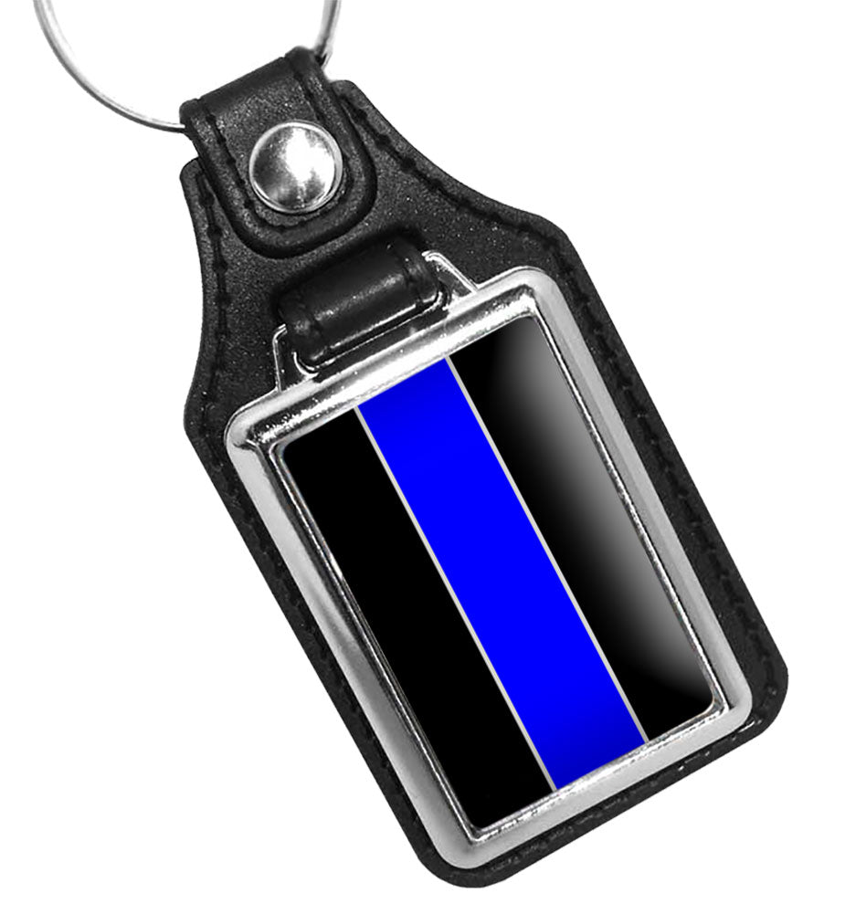 Police Key Chain With Thin Blue Line