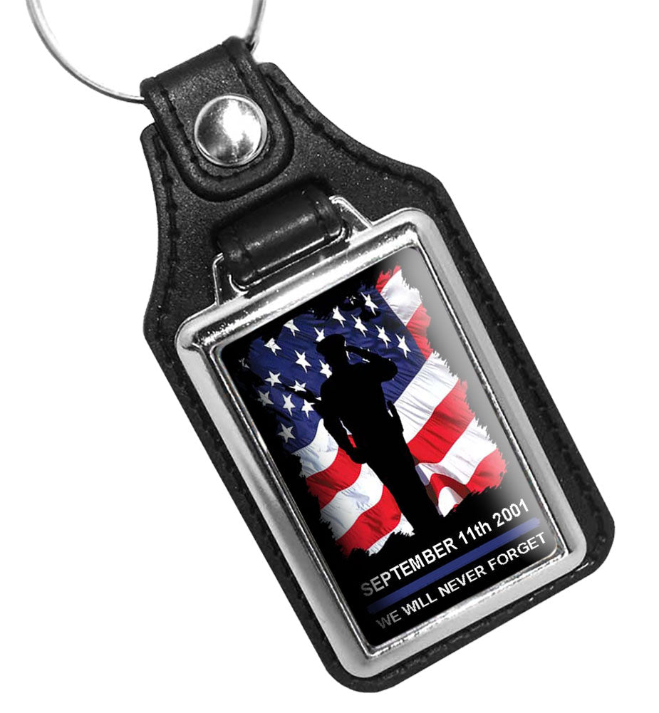 Sept. 11th 2001 We Will Never Forget Saluting Officer American Flag Faux Leather Key Ring