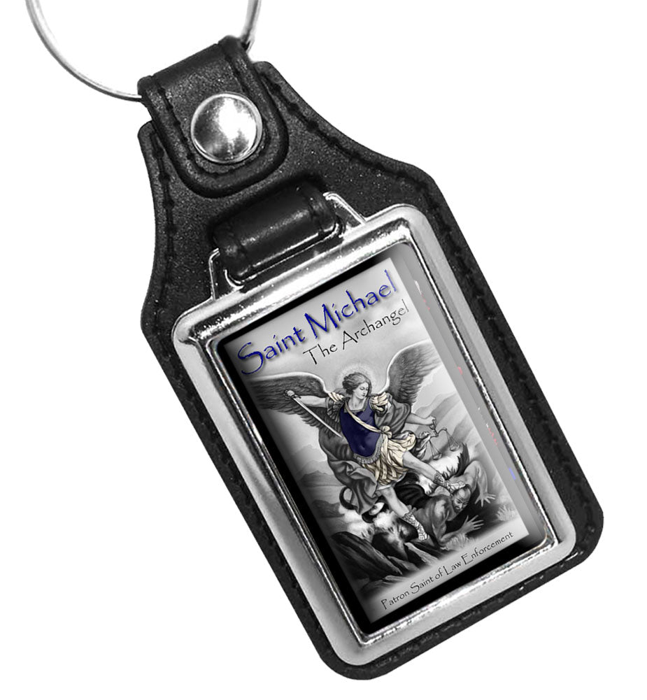 Saint Michael The Archangel Patron Saint of Law Enforcement Faux Leather Key Ring