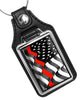Flowing Thin Red Flowing Flag for Firefighters Design Faux Leather Key Ring