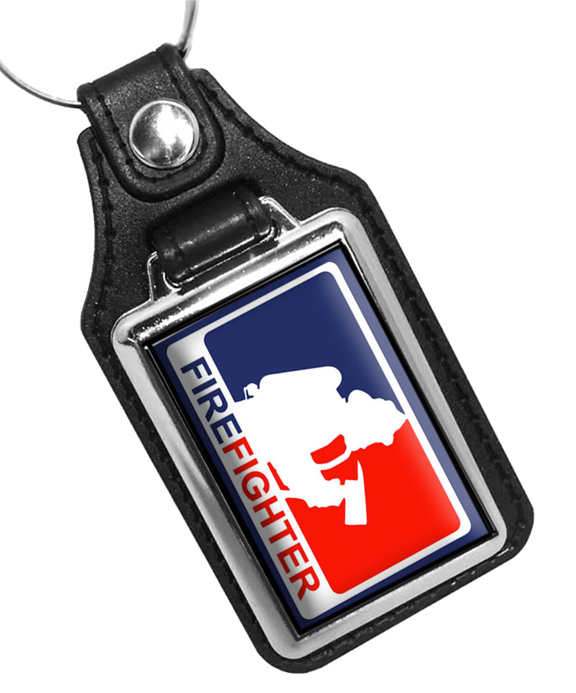 NBL Red White Blue Firefighter Design Faux Leather Key Ring