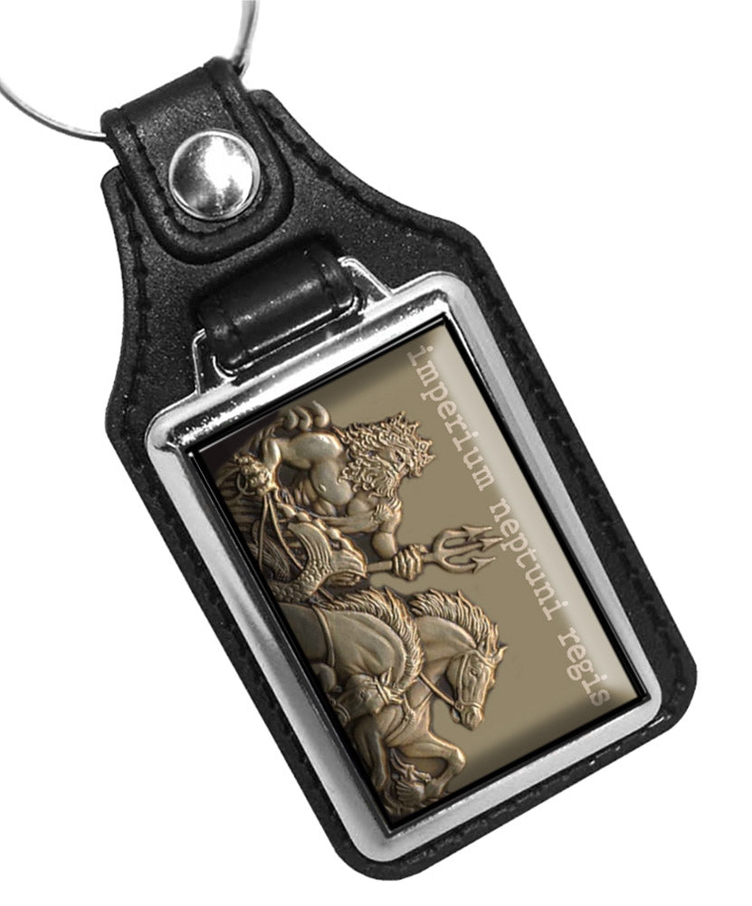 United States Navy Crossing the Line The Empire of King Neptune Faux Leather Key Ring