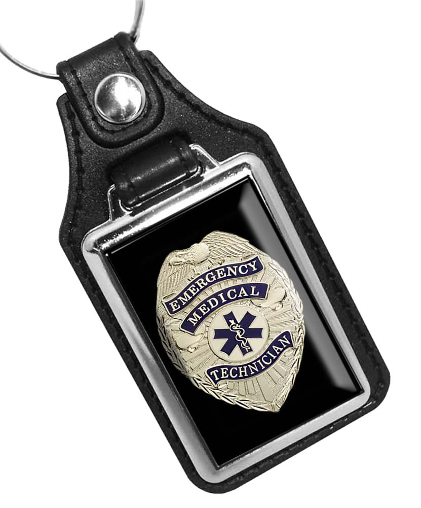 Emergency Medical Technician Star of Life Badge Emblem Faux Leather Key Ring