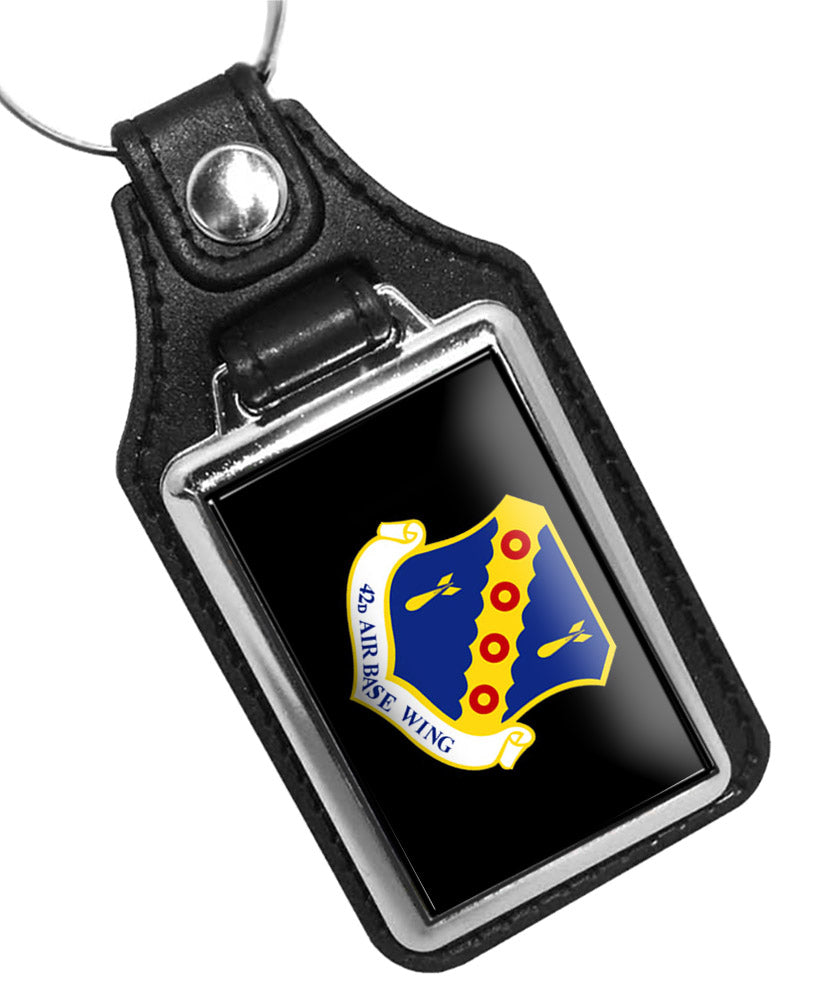 United States Air Force 42nd Air Base Wing Faux Leather Key Ring