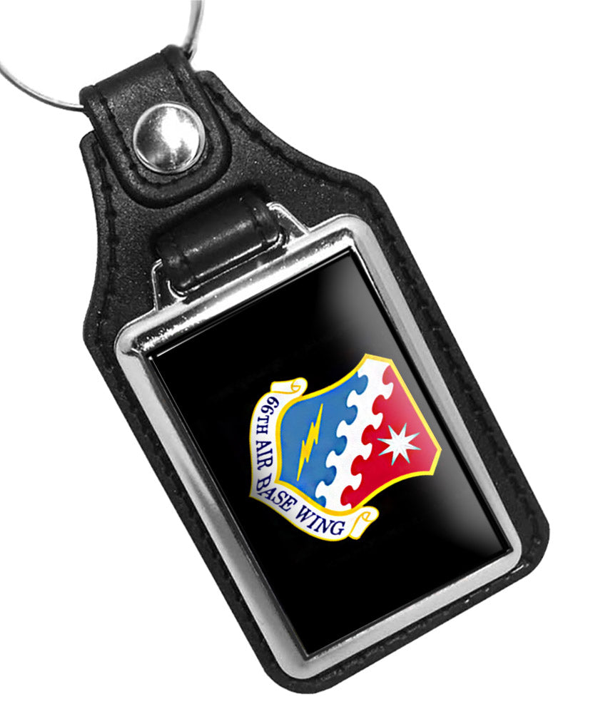 United States Air Force 66th Air Base Wing Faux Leather Key Ring