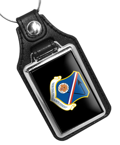 United States Air Force 377th Air Base Wing Serving Freedom's Finest Faux Leather Key Ring