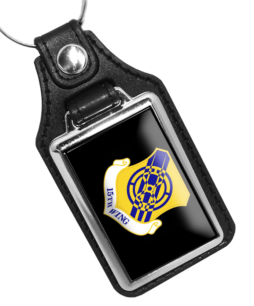 United States Air Force 15th Air Base Wing Faux Leather Key Ring
