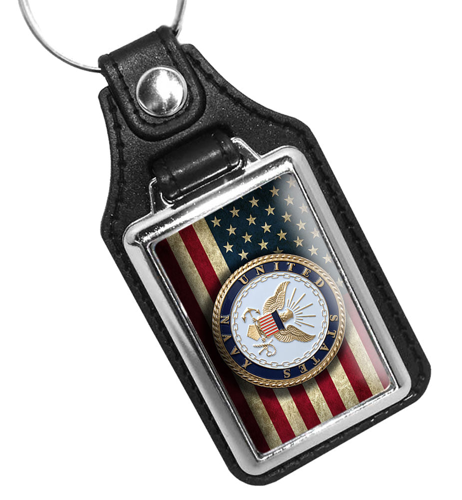 United States Navy Emblem Over American Flag Faux Leather Key Ring