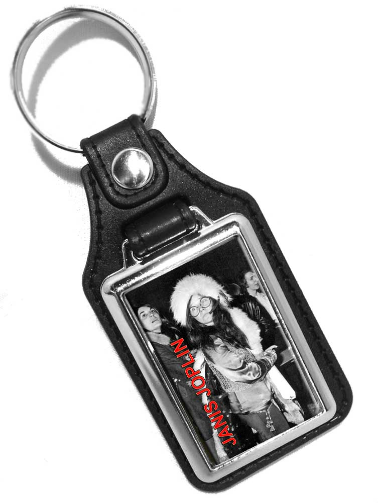 Janis Joplin 1960's Rock and Roll Singer Design Faux Leather Key Ring