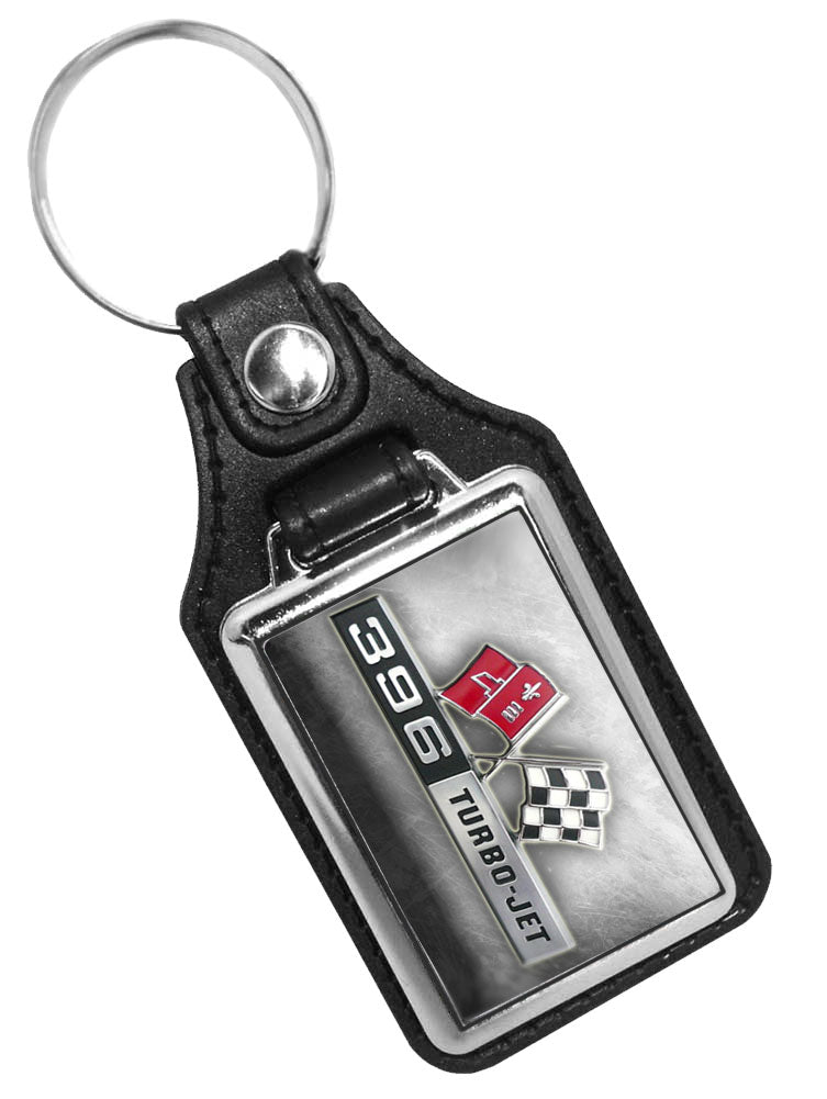 Chevy Flag 396 Turbo Jet Emblem Faux Leather Key Ring Key Chain
