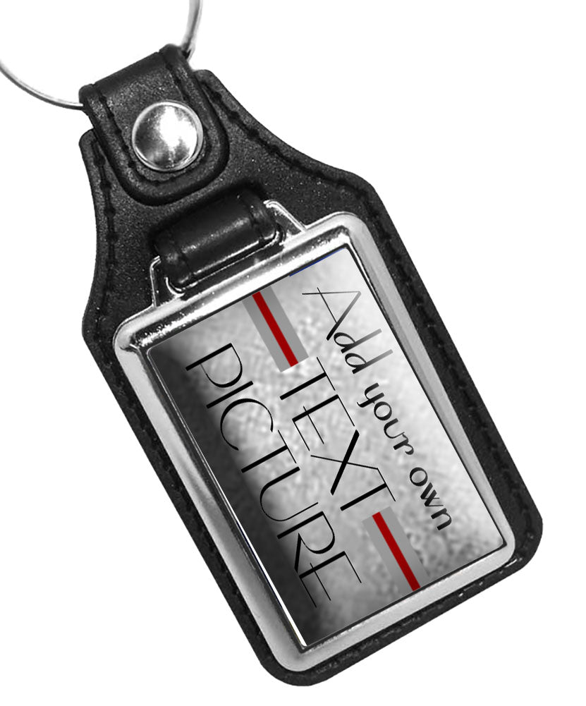 Add your own Text and Picture Faux Leather Key Ring