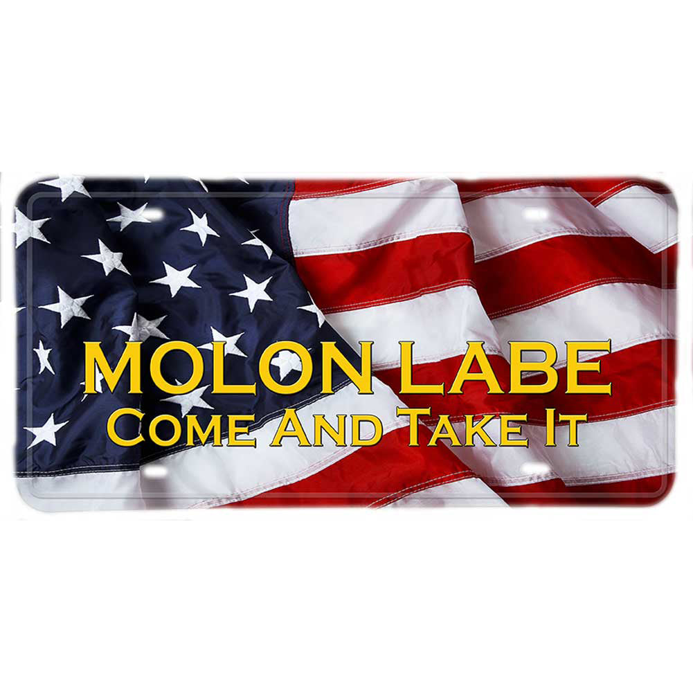 American Flag Molon Labe Come and Take It Aluminum License Plate