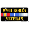 World War II WWII Korean War Veteran Ribbon Design Aluminum License Plate