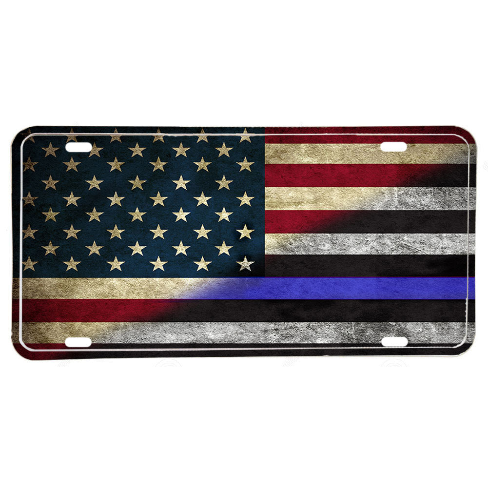 Law Enforcement Police Sheriff Red White Thin Blue Line American Flag Aluminum License Plate