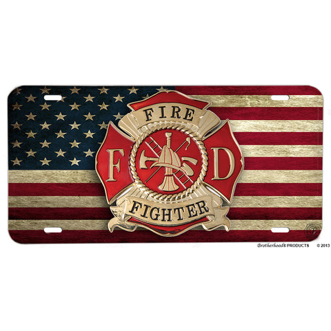 Firefighters Maltese Cross On Distressed American Flag Aluminum License Plate