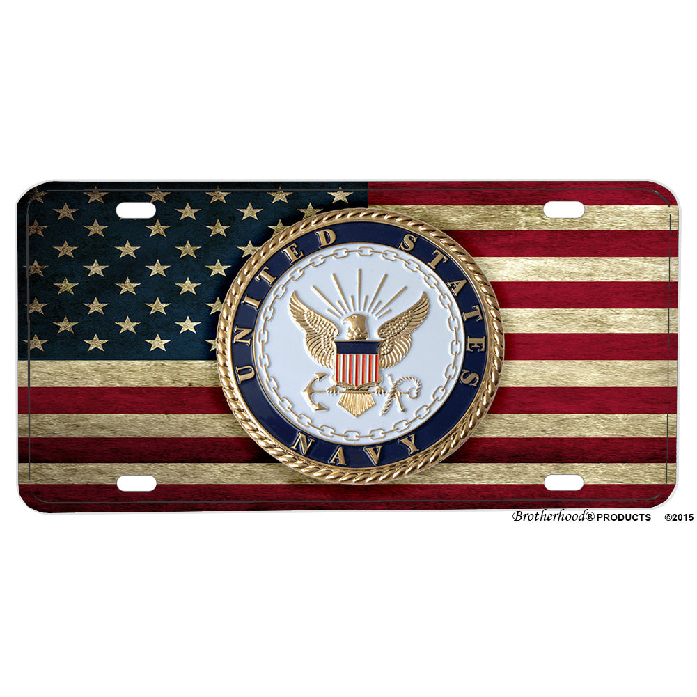 United States Navy Seal American Flag Aluminum License Plate