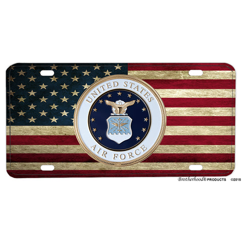 United States Air Force Seal American Flag Aluminum License Plate