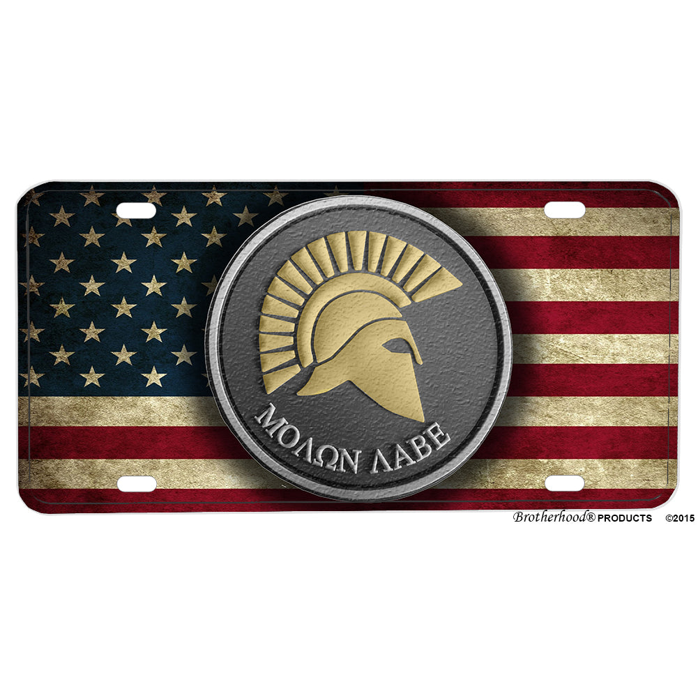 Subdued American Flag Molon Labe Come and Take It Aluminum License Plate