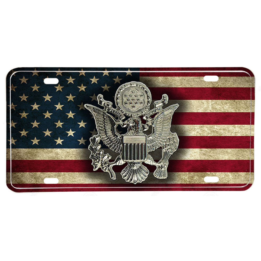 United States Army Hat Emblem Seal Distressed American Flag Aluminum License Plate