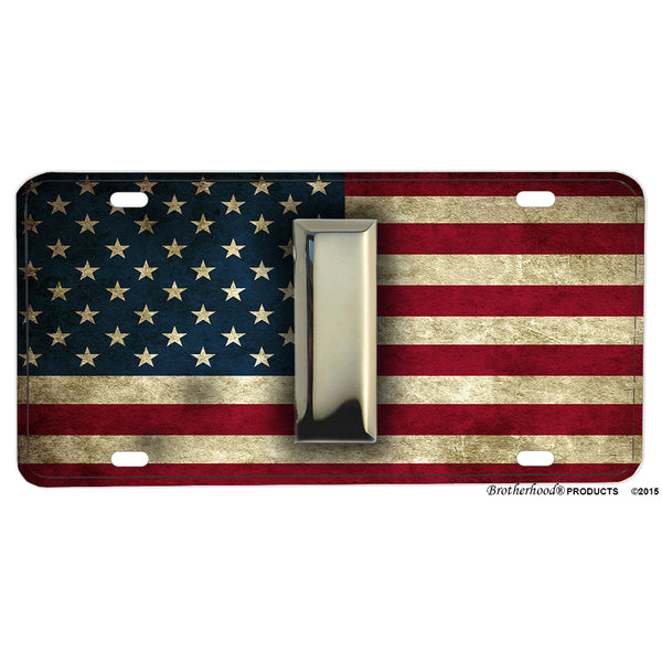 Subdued American Flag With Military Rank Insignia Aluminum License Plate