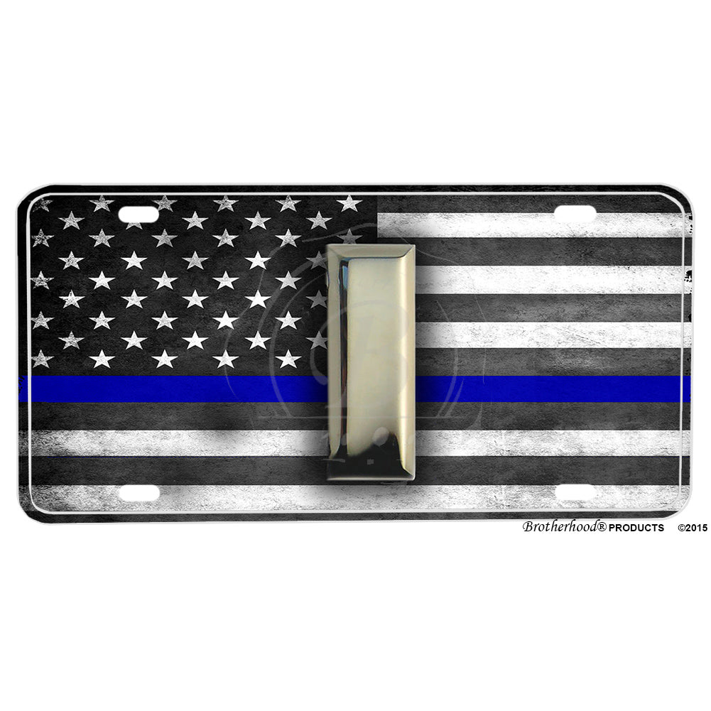 Thin Blue Line Flag Punisher Give Me Liberty or Death 8x12 Inch Aluminum Sign