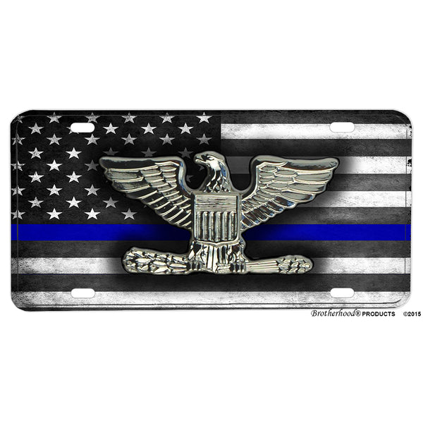 Thin Blue Line American Flag Police Sheriff Ranks Aluminum License Plate