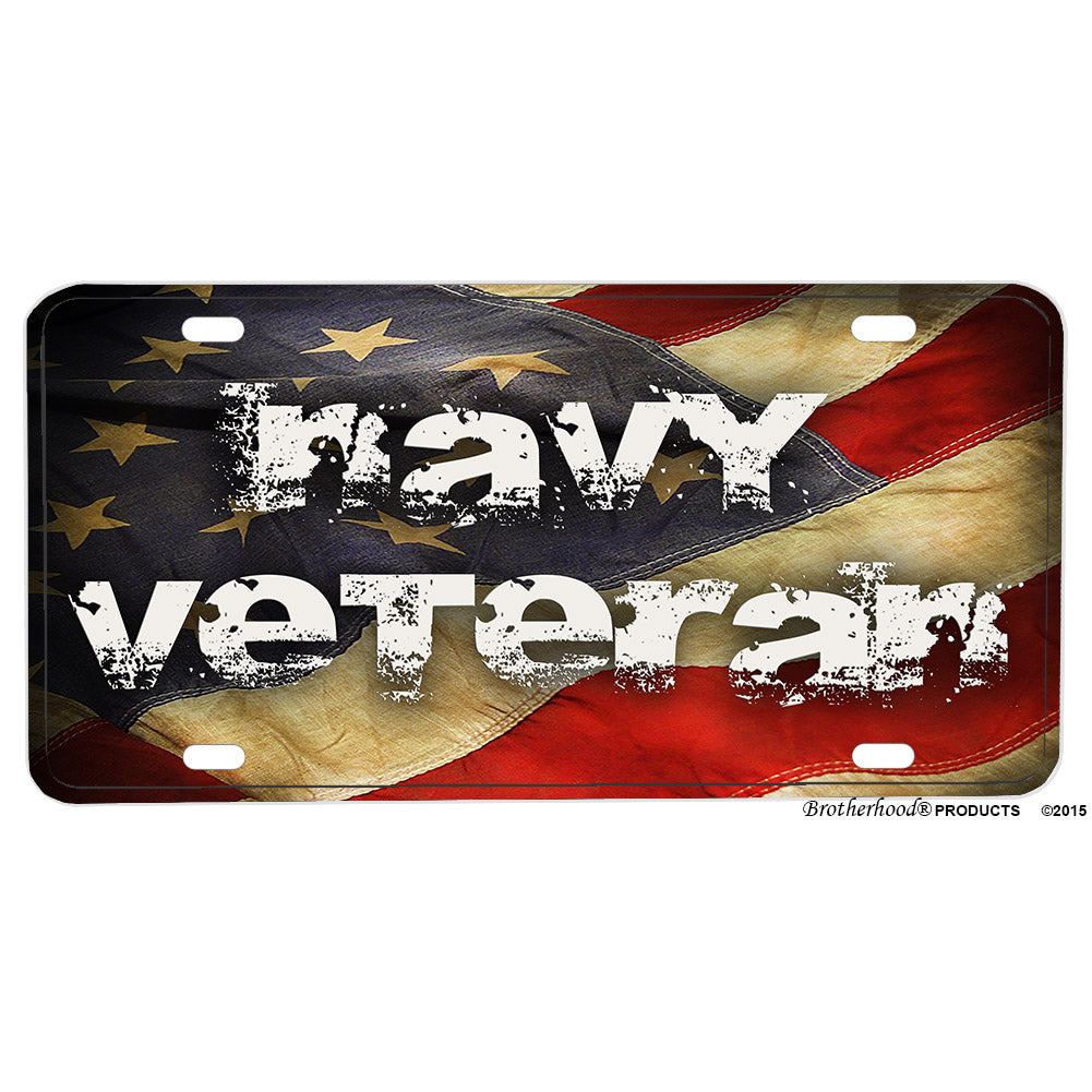 United States Navy Veteran Flowing Flag Aluminum License Plate