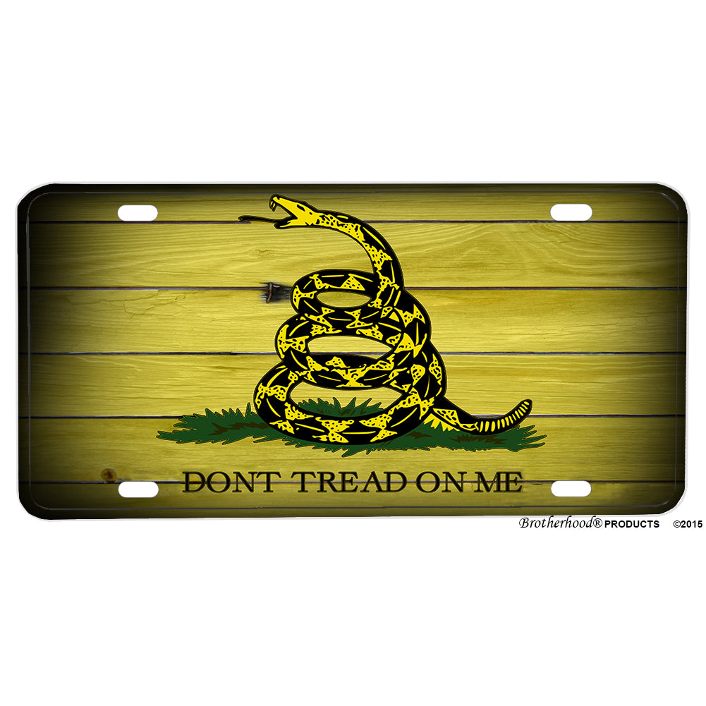 Don't Tread On Me Gadsden Rattlesnake Flag Aluminum License Plate