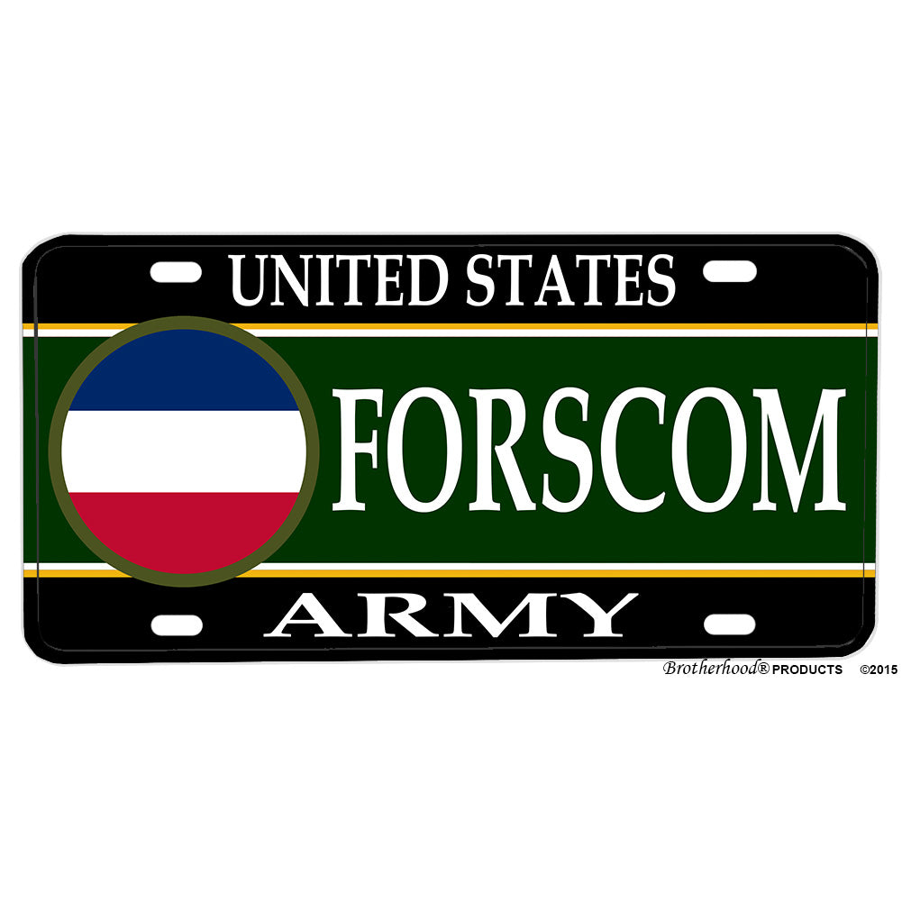United States Army Forces Command FORSCOM Aluminum License Plate