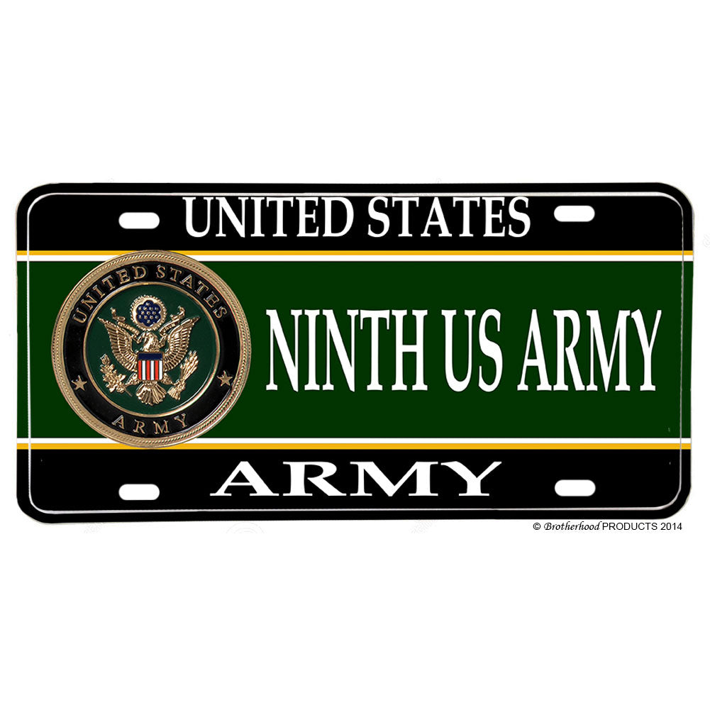 United States Army Ninth US Field Army Aluminum License Plate