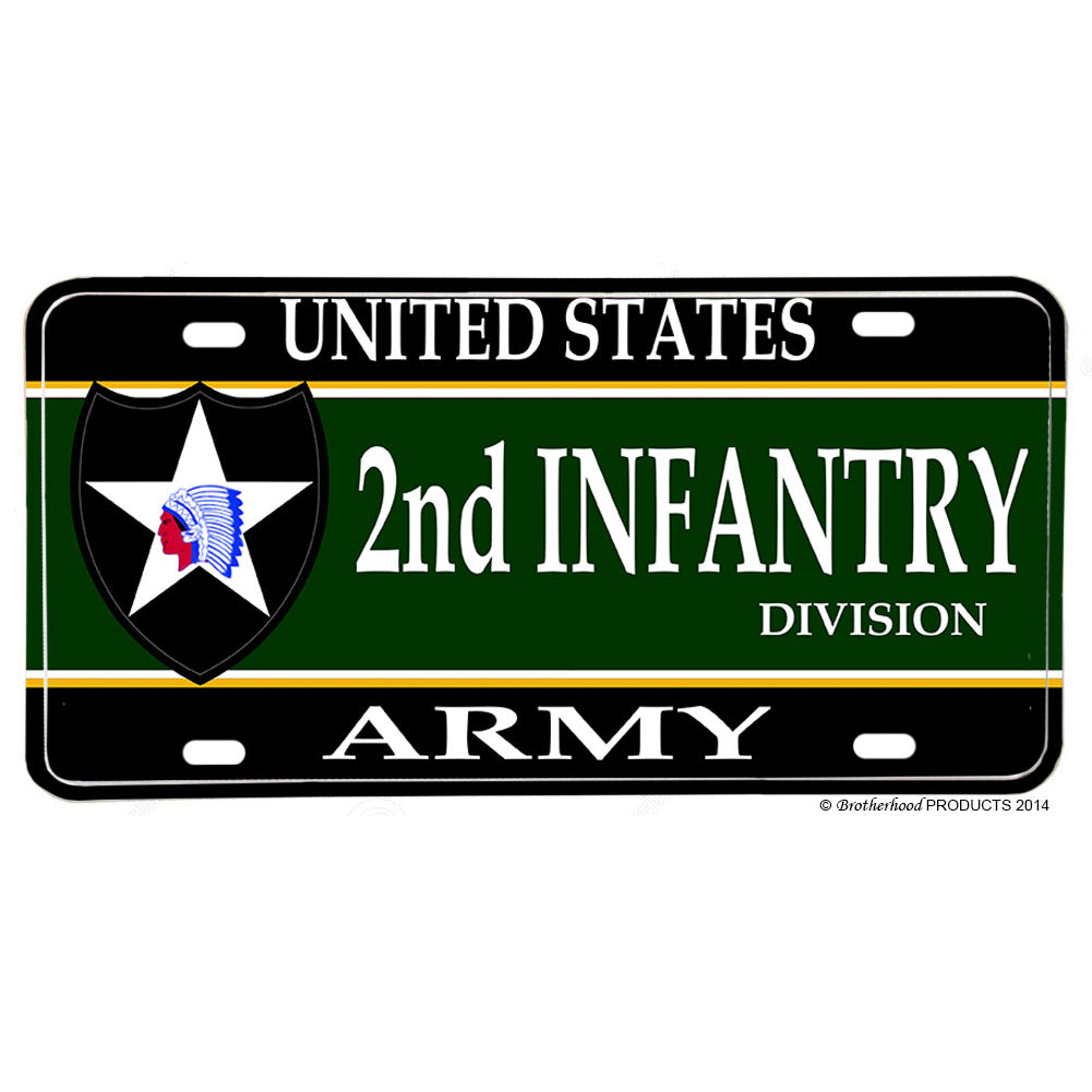 United States Army 2nd Division Indian Head Aluminum License Plate