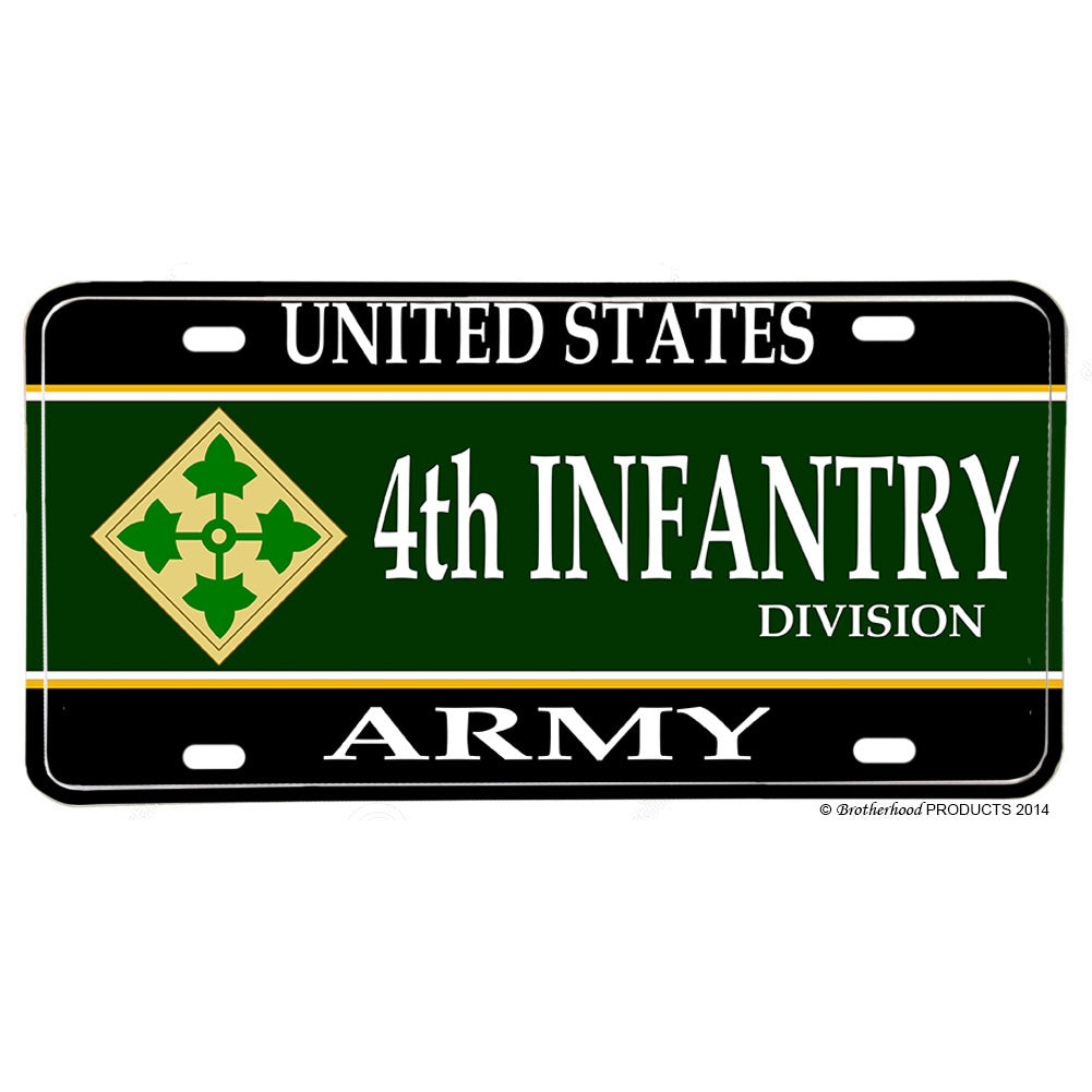 United States Army 4th Division Steadfast and Loyal Aluminum License Plate
