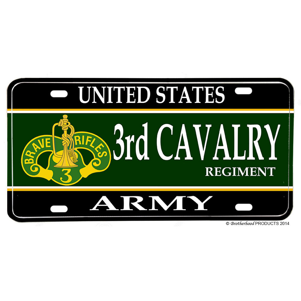 United States Army 3rd Cavalry Regiment Blood and Steel Aluminum License Plate