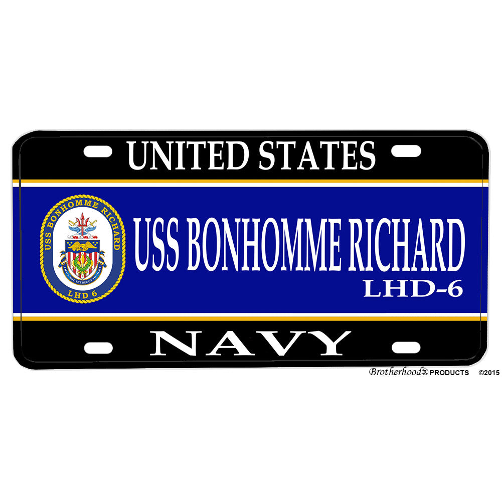 United States Navy Ship USS Bonhomme Richard LHD-6 Aluminum License Plate