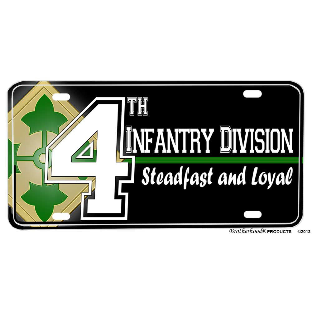 United States Army 4th Infantry Division Steadfast and Loyal Aluminum License Plate