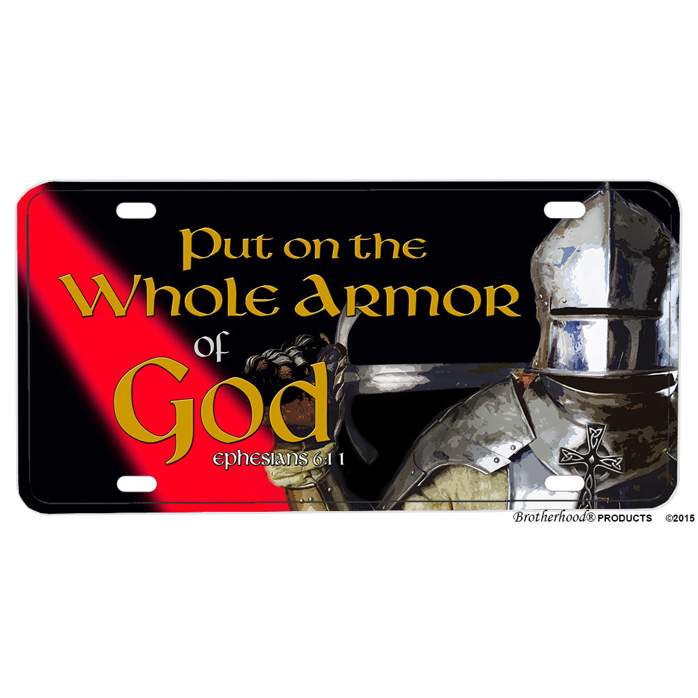 Firefighter Put On The Armor of God Thin Red Line Aluminum License Plate
